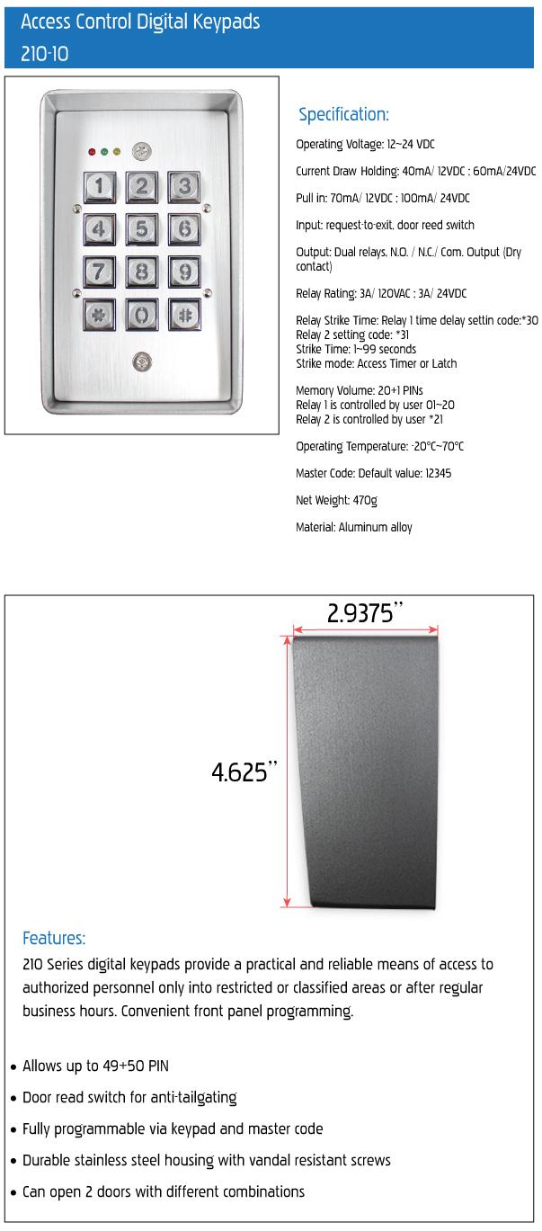 210 10 access control digital keypads